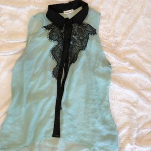 Tops - Sheer and lace sleeveless top